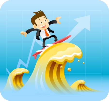 Businessman surfing Vector