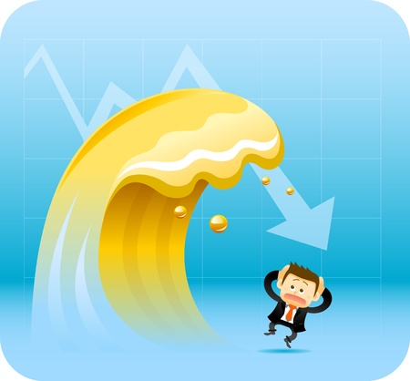 Businessman with Finance tsunami Vector