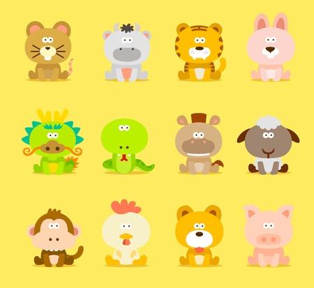 pollo caricatura: Los animales del Zodíaco Chino, 12 set de iconos de animales