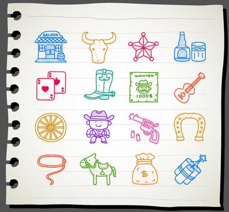 Sketchbook series | wild west,cowboy icon set.