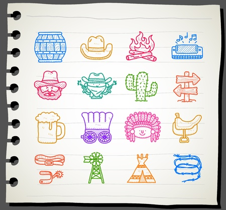 Sketchbook series | wild west,cowboy icon set. Stock Vector - 12312064