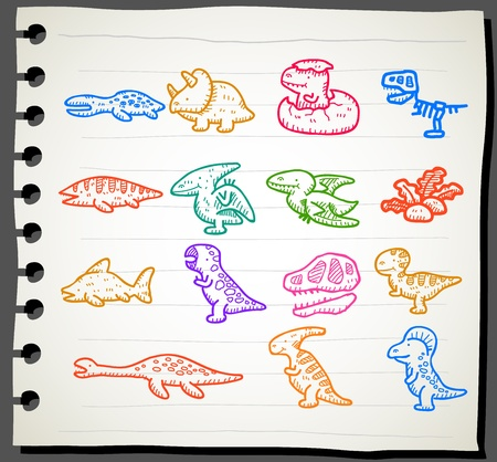 Sketchbook series | Dinosaur icon set  Vector
