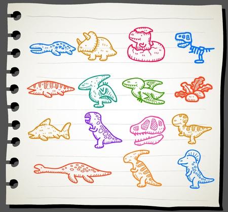 Sketchbook series | Dinosaur icon set