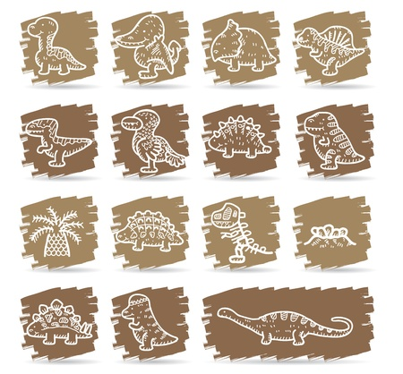 stegosaurus: Brown cepillo de serie | Dinosaurios conjunto de iconos
