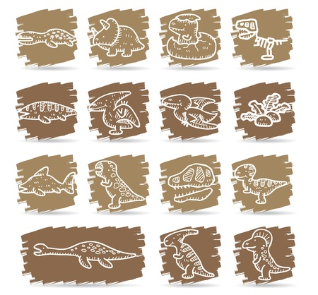 Brown brush series | Dinosaur icon set  Stock Vector - 12312065