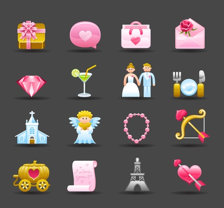Dark Series | wedding,love,valentine icon set Vector