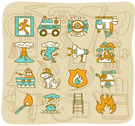 Mocha Series | firefighter ,Emergency icon set Vector