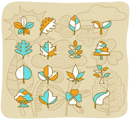 Mocha Series | leaf icon set Vector