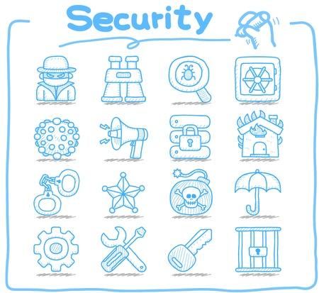 Dibujado a mano de Seguridad, de negocios, conjunto de iconos Foto de archivo - 12432125