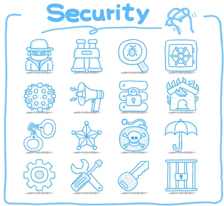 Hand drawn  Security,business,icon set Vector