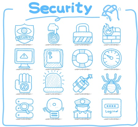 Hand drawn  Security,business,icon set Stock Vector - 12432126