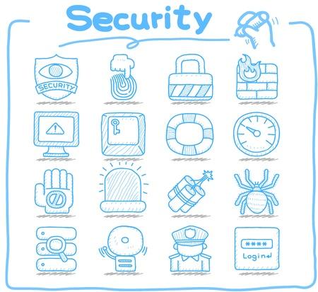 alarm system: Hand drawn  Security,business,icon set Illustration