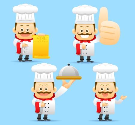 preparing food: Chef character set Illustration