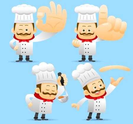 buen servicio: Chef juego de caracteres Vectores