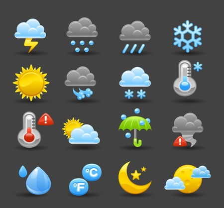 Dark Series   Weather icon set Stock Vector - 12432129