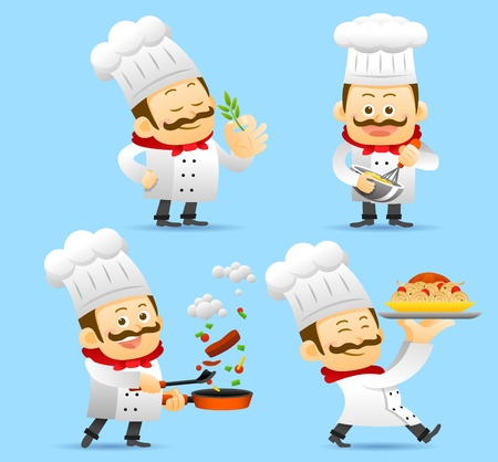 cartoon kitchen: Chef juego de caracteres Vectores