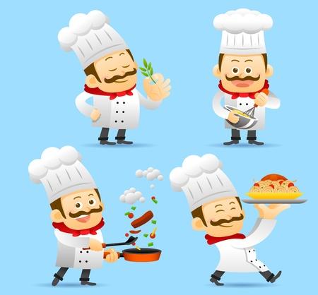 ustensiles de cuisine: Jeu de caractères chef