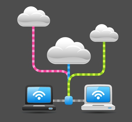 Communication with Cloud computing  일러스트