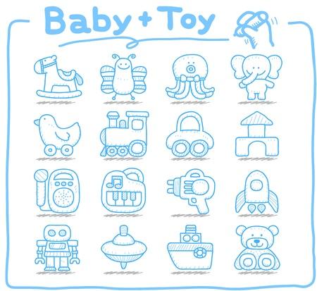 oyuncak: Pure series   Hand drawn Toy,baby icon set Çizim