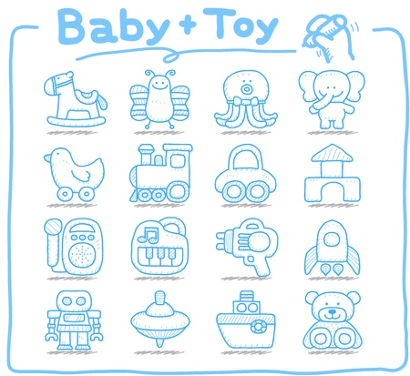 kids and toys: Pure series   Hand drawn Toy,baby icon set Illustration
