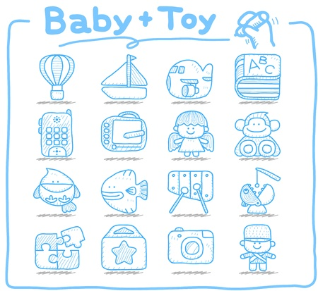 Pure series   Hand drawn Toy,baby icon set Vector