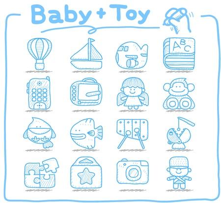 Hand drawn: Pure series   Hand drawn Toy,baby icon set Illustration