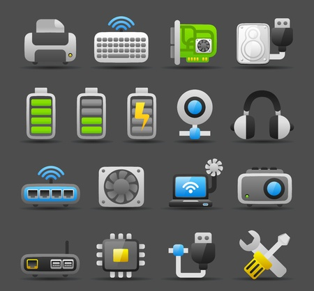 hub computer: Dark series   Computer Gadgets icon set Illustration