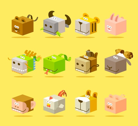 snake year: 12 animales conjunto de iconos
