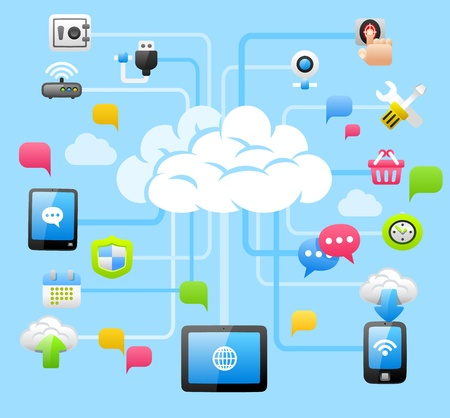 internet security: Intelligent Cloud Computing Illustration