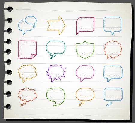 burbujas de pensamiento: Sketchbook Discurso serie y pensamiento