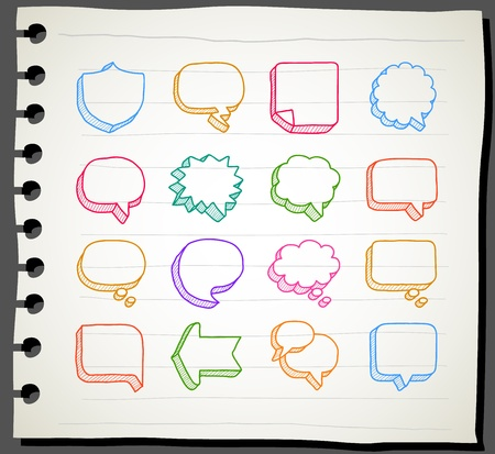 Sketchbook series   Speech And Thought Bubbles Stock Vector - 12496049