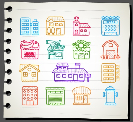Sketchbook series   hand drawn houses, buildings,store ,travel icons, Stock Vector - 12496051