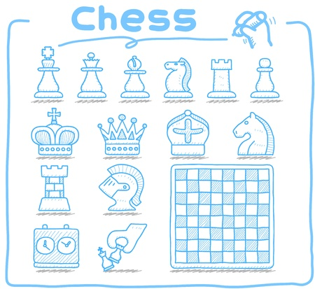 Pure series   Hand drawn Chess icon set Vector