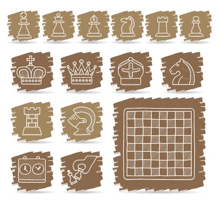 Brown brush series   Chess icon set Vector