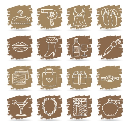 Brown brush series   Fashion,Beauty,women accessory icon set Vector