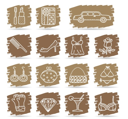 Brown brush series   Fashion,Beauty,women accessory icon set Stock Vector - 12496054