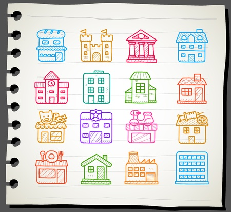 Sketchbook series   hand drawn houses, buildings,store ,travel icons, Vector