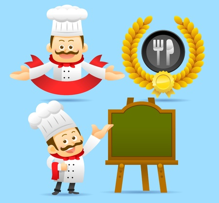 Cartoon Chef ,Award,Ribbon set Vector