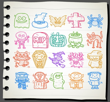 sketchbook: Sketchbook series   Hand drawn halloween icon set