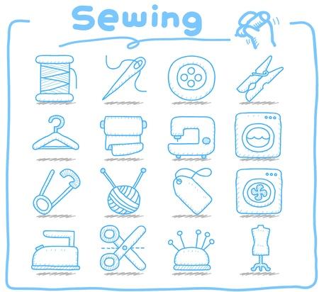 maquinas de coser: Pura serie dibujada a mano de coser icono de conjunto Vectores