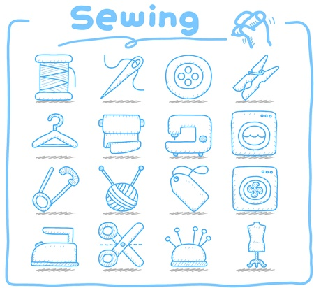 Pure series   Hand drawn Sewing icon set Vector