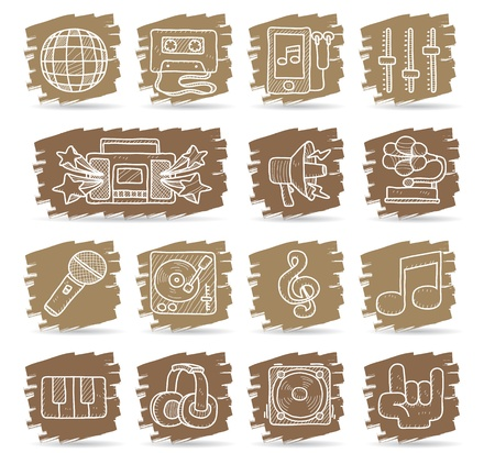 Brown brush series   Music icon set Vector