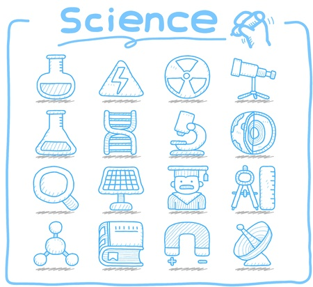 chemical equipment: Pure Series   Hand drawn Science icon set Illustration