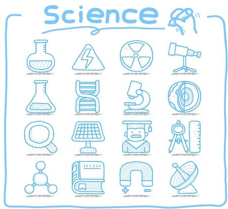 Pure Series   Hand drawn Science icon set Illustration