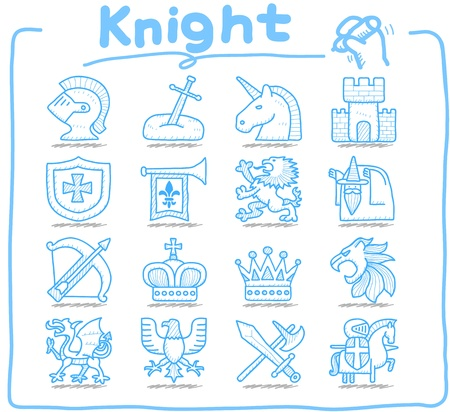 Pure Series   Hand drawn Knight icon set Vector