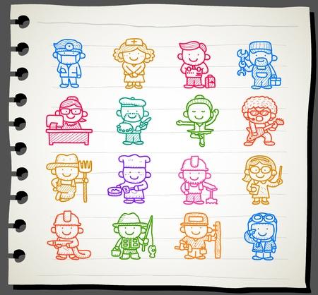Sketchbook series   occupation,business,job,worker,people icon set