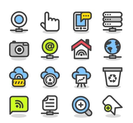 trabajo social: Web de la serie simple, Internet, los iconos de Negocios Set