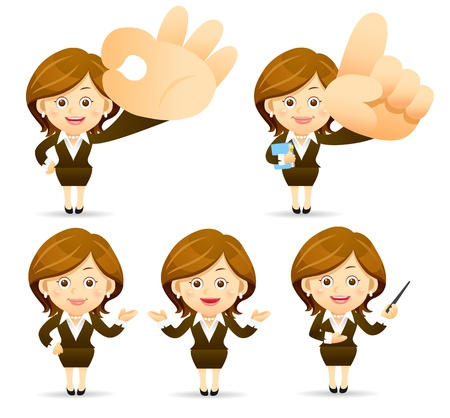 Elegant People Series   Businesswoman  set Vector
