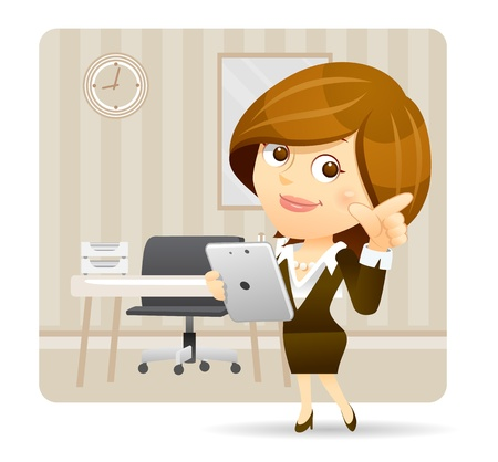 Elegant People Series   Businesswoman with tablet pc  set Illustration