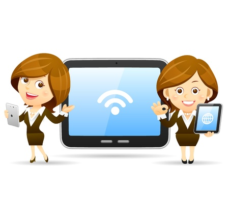 tablette pc: El�gant affaires s�rie populaire avec l'ensemble Tablet PC Illustration